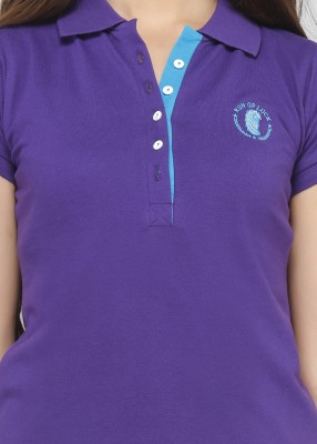 Run of luck Solid Women's Polo Purple T-Shirt