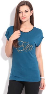 Elle Solid Women's Round Neck Blue T-Shirt