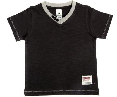 Bio Kid Solid Boy's V-neck Grey T-Shirt