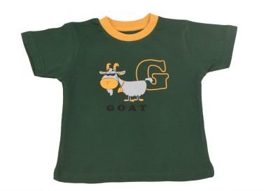 TSG Breeze Printed Baby Girl's Round Neck Dark Green T-Shirt