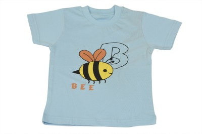 TSG Breeze Printed Baby Girl's Round Neck Light Blue T-Shirt