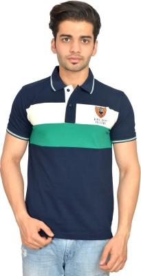 Urban Trail Embroidered Men's Polo Neck Dark Blue T-Shirt