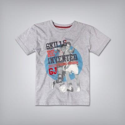 Gini & Jony Printed Boy's Round Neck Grey T-Shirt