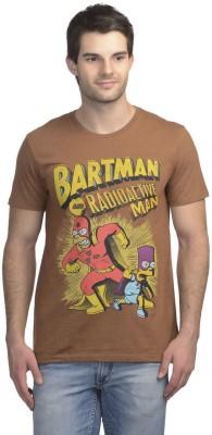 Simpsons Printed Men's Round Neck Brown T-Shirt