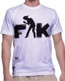 Fak Graphic Print Men's Round Neck White...