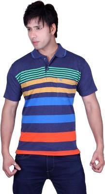 Update Striped Men's Flap Collar Neck Green, Multicolor T-Shirt