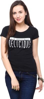 Yepme Printed Women's Round Neck Black T-Shirt at flipkart