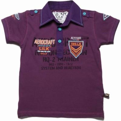 Little Kangaroos Printed Boy's Polo Neck Purple T-Shirt