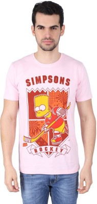 Simpsons Graphic Print Men's Round Neck Pink T-Shirt