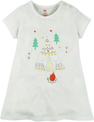 Oye Printed Baby Girl's Round Neck White T-Shirt