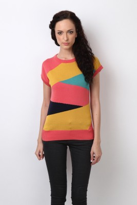 Bombay High Geometric Print Women,s Round Neck Multicolor T-Shirt