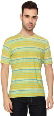 Crocodile Printed Men,s V-neck Yellow T-Shirt