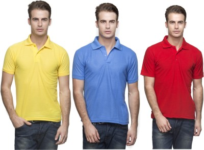 Lambency Solid Men's Polo Neck Yellow, Light Blue, Red T-Shirt