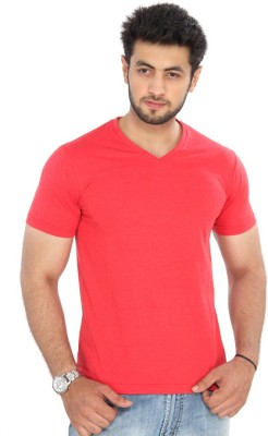 Bongio Solid Men's V-neck Red T-Shirt