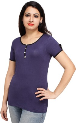 Styles Clothing Solid Women's Scoop Neck Dark Blue T-Shirt