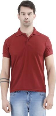 Tej Star Solid Men's Polo Neck Maroon T-Shirt