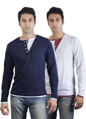 Vagga Solid Men's Henley White, Blue T-Shirt
