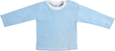 Tillu Pillu Solid Baby Boy's Round Neck Blue T-Shirt
