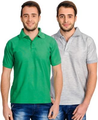 Superjoy Solid Men's Polo Neck Grey, Green T-Shirt
