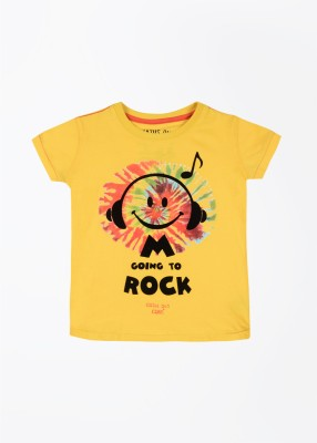 Status Quo Cubs Printed Boy's Round Neck Yellow T-Shirt