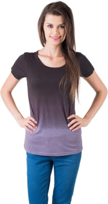 Gypsy Soul Solid Women's Round Neck Purple T-Shirt