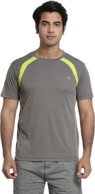 SEVEN Solid Men's Round Neck Grey T-Shirt