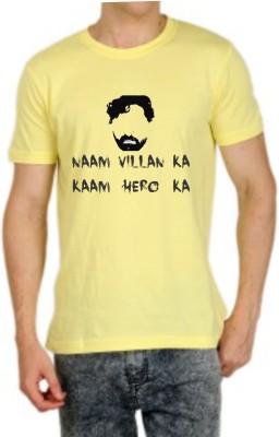 Teeswood Printed Men's Round Neck Yellow T-Shirt