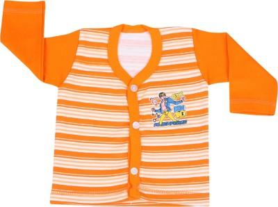 Rishan Printed Baby Boy's V-neck Orange T-Shirt