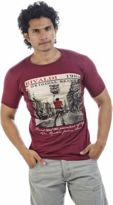 Adventure Printed Men's Round Neck Maroon T-Shirt