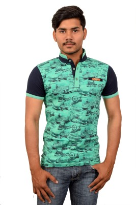 YOUTH & STYLE Printed Men's Polo Neck Green T-Shirt