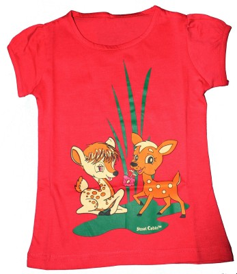 Stoat Cabin Graphic Print Girl's Round Neck Pink T-Shirt