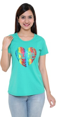 IN Love Party, Formal, Casual Cap sleeve Printed Women's Green Top