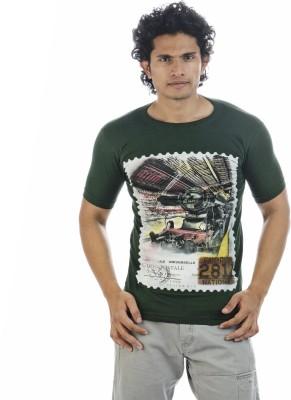 Adventure Printed Men's Round Neck Dark Green T-Shirt