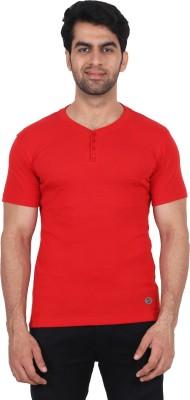 Fashcom Solid Men's Henley Red T-Shirt