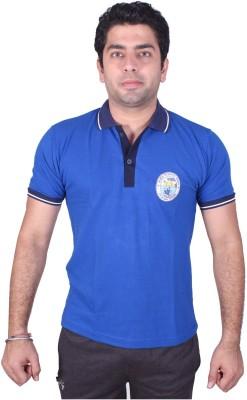 SST Solid Men,s Polo Neck Blue T-Shirt