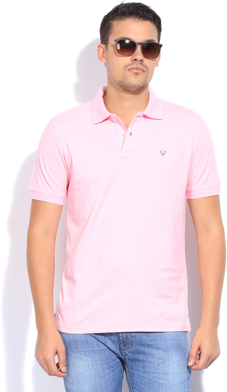 Allen Solly Solid Mens Polo Neck Pink T-Shirt