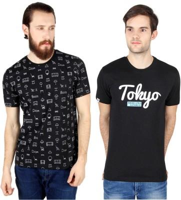 Threads & Pals Printed Men's Round Neck Black, Black T-Shirt