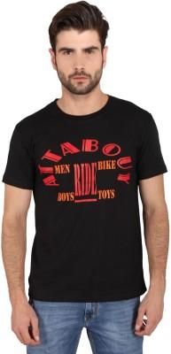 Attabouy Printed Men's Round Neck Black T-Shirt