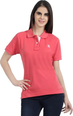 The Cotton Company Solid Women's Polo Neck Pink T-Shirt