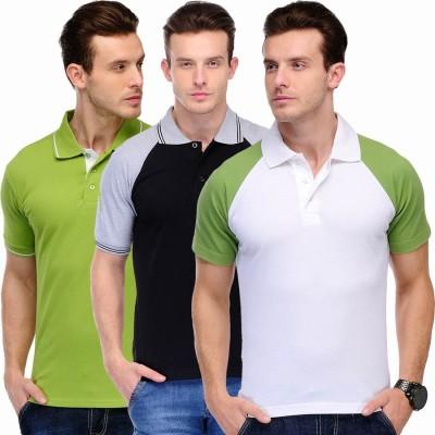 Scott International Solid Men's Polo Green, Black, Grey, White T-Shirt