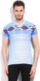 Killer Striped Men's V-neck Blue T-Shirt