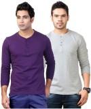 Top Notch Solid Men's Henley Purple, Gre...
