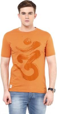 Ziera Printed Men's Round Neck Orange T-Shirt