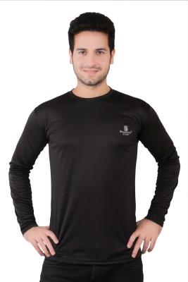 Friction Solid Men's Round Neck Black T-Shirt
