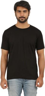 Broken Treads Solid Men's Round Neck Black T-Shirt