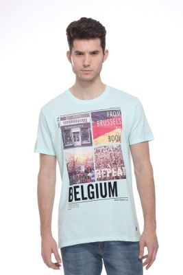 OCTAVE Printed Men,s Round Neck Light Blue T-Shirt