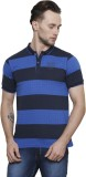 Mudo Printed Men's Henley Blue T-Shirt