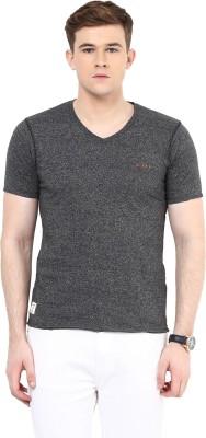Ziera Solid Men's V-neck Grey T-Shirt