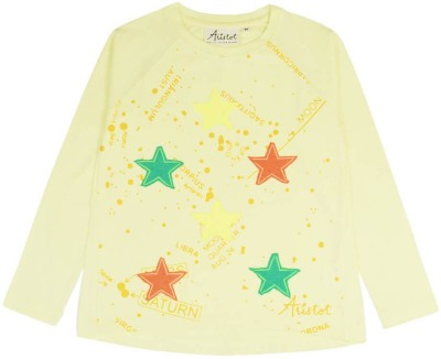 Aristot Embellished Girl's Round Neck Yellow T-Shirt