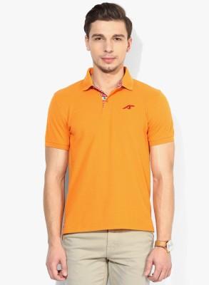 Emerge Solid Men's Polo Neck Orange T-Shirt